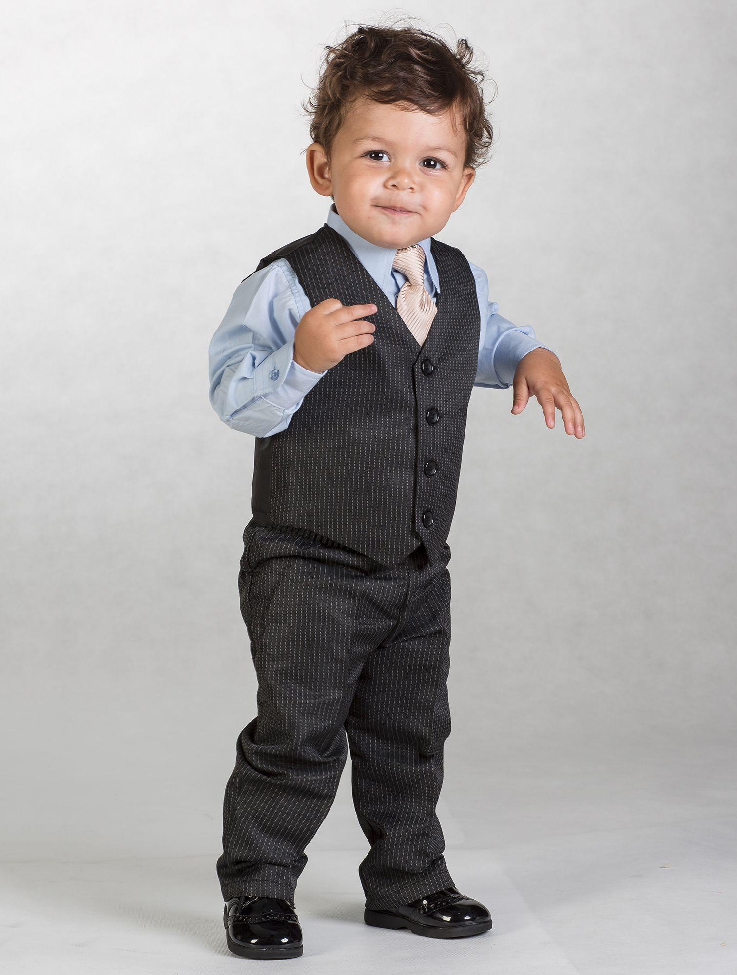 Page Boy Suit | Harry - Black pinstripe & blue 4 piece waistcoat ...
