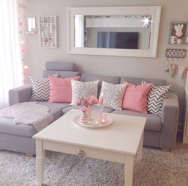 adorable mirrored living room furniture. Dream house goals  light colored rooms grey sofa pink and white pillows living room Love the colors in this Pink Gray White Home