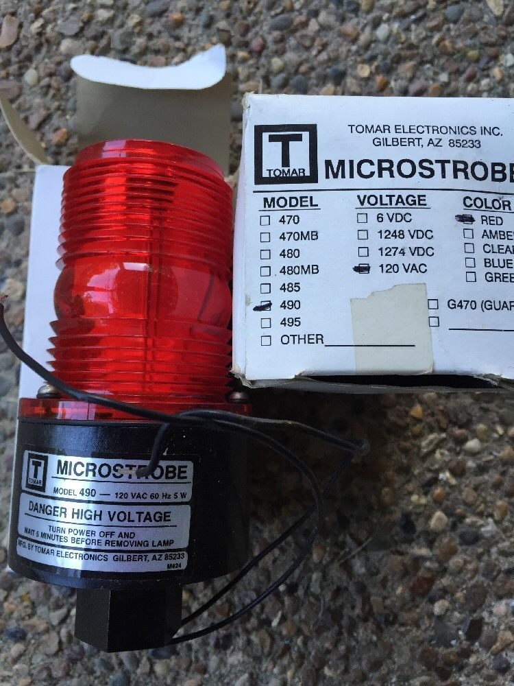 2 Microstrobe Model 490 Red 120 Vac High Voltage Warning Strobe Light Ebay Strobe Lights High Voltage Strobing