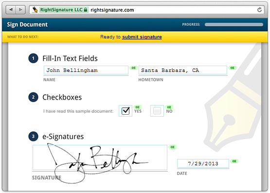 Rightsignature Sign Documents Online Electronic Signature E Signature E Signature Electronic Signature Hometown