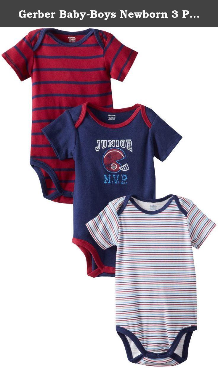 795ce3ae3e95 Gerber Baby-Boys Newborn 3 Pack Short Sleeve Onesies Brand Bodysuits ...