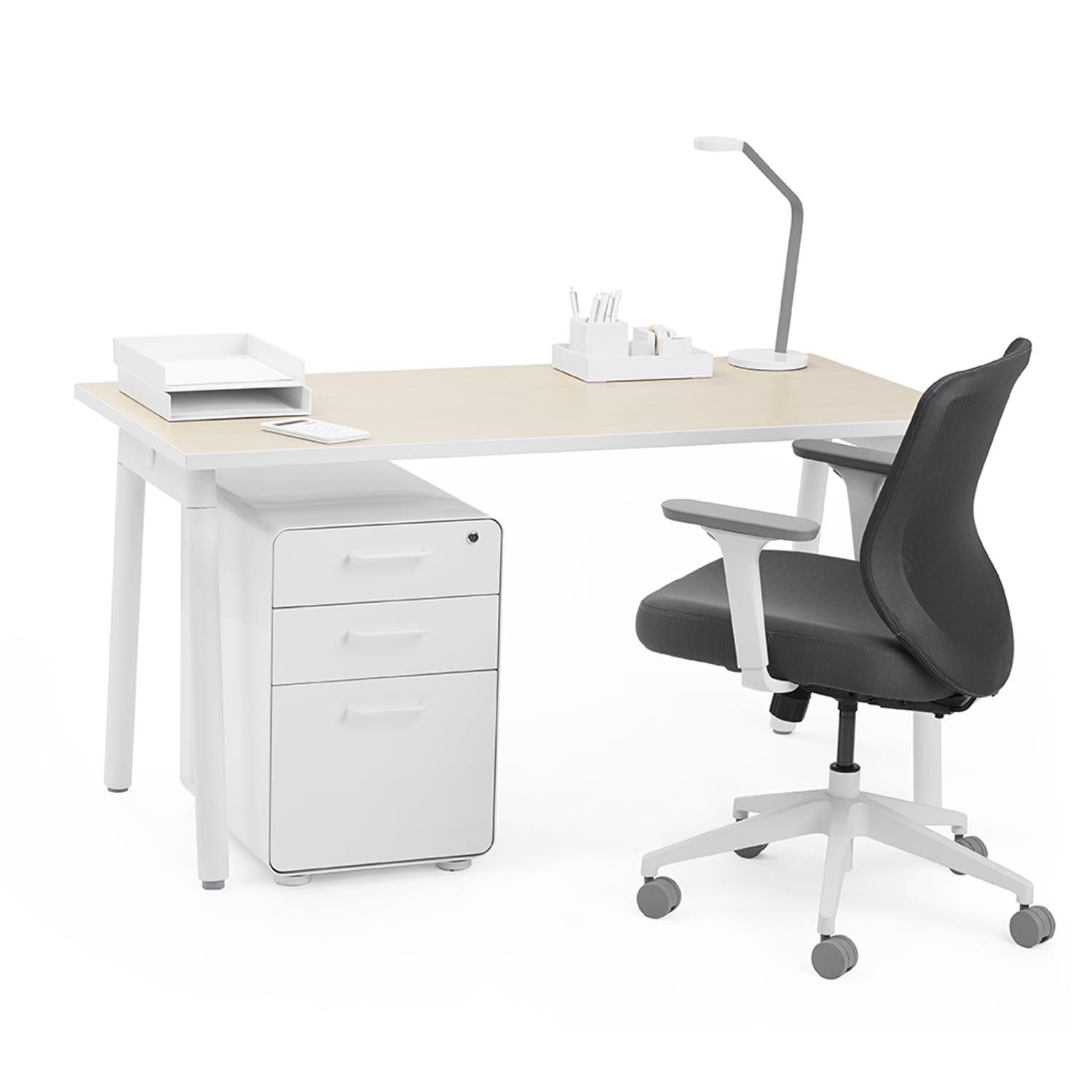 Series A Single Desk For 1 Natural Oak 47 White Legs White
