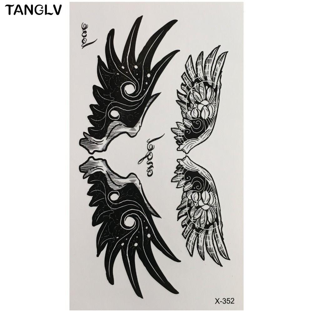 1PC Hot Large Angel Wing Tattoo Sleeve Body Back Art Temporary Tattoo Sticker Waterproof Henna Fake Arm Tatoo Wing Feather