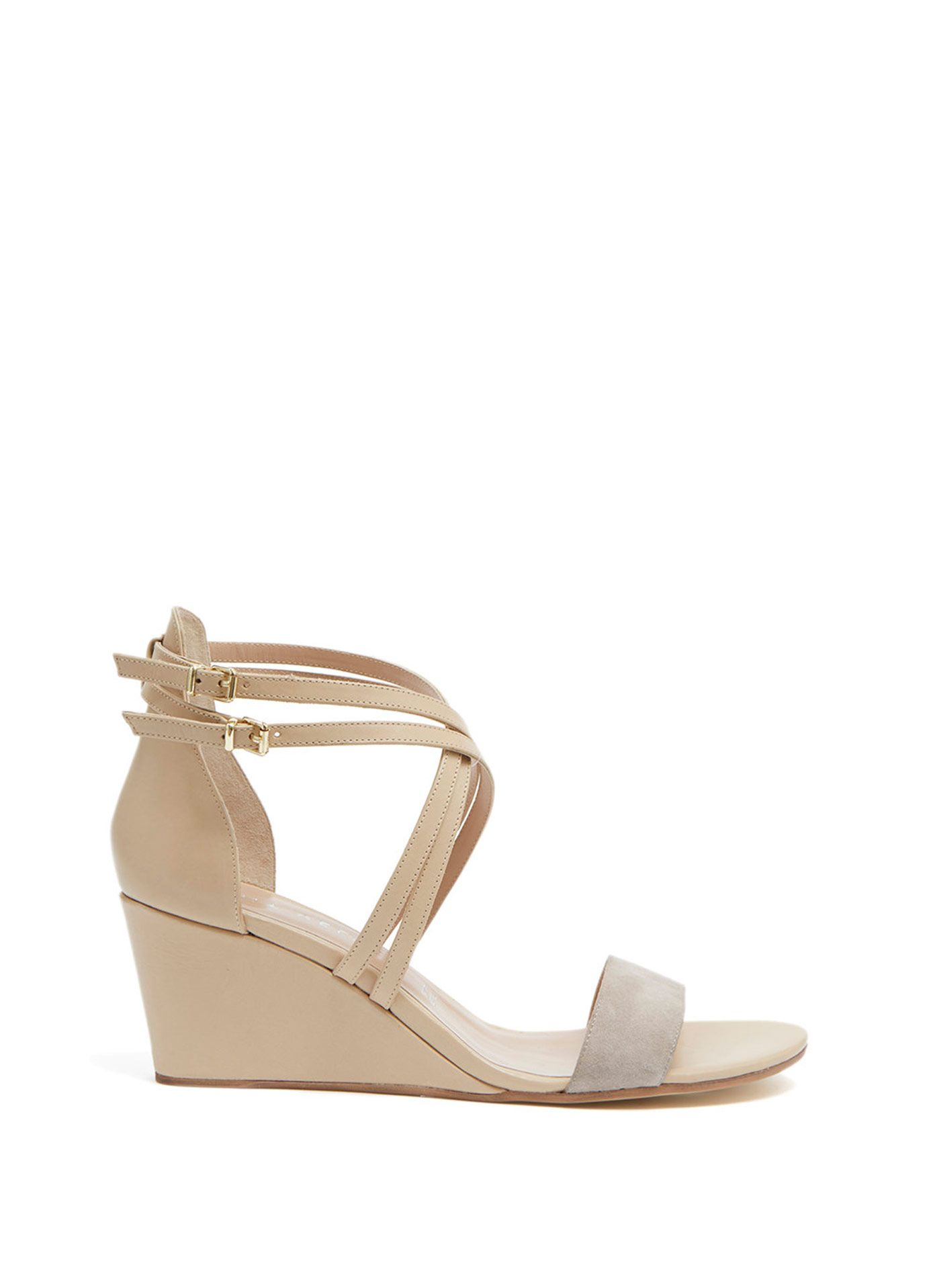 Mink Gaia Suede Wedge Shoes Leather Sandals Wedges Wedge Shoes