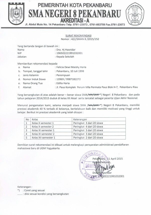 Surat Rekomendasi Sekolah Pbuk Ugm Kepala Sekolah