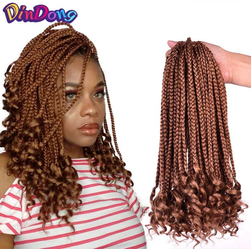 Dindong 12 Inch Box Braids Curly Ends Synthetic Kanekalon 24 Strands Goddess Locks Crochet Hair Exten Crochet Hair Extensions Goddess Locks Crochet Hair Styles