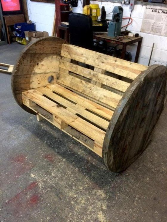 wooden pallet cable spool bench or chair 70 pallet ideas for home decor pallet - Wood Pallet Ideas