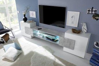 Meuble TV Design Blanc Laqué/gris Béton Richie   Meubles TV/Hifi/Vidéo Pas  Cher   MATELPRO
