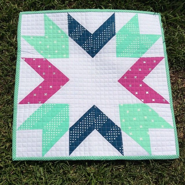Braved the heat for a quick outside/bright sunshine pic before I hang it up! Thank you again @emileehathaway ! #cottonandsteelminiquiltswap