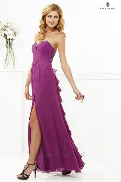 Beaded strapless Chiffon with ruffle back. Faviana 7124 | $358 at www.bedazzledboutique.com
