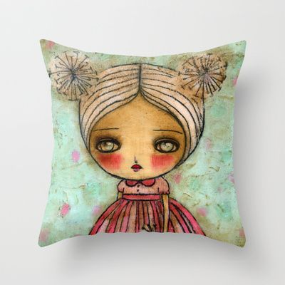 Dandelion Girl In Red And Pink Throw Pillow By Danita Art 20 00 Art Pink Throw Pillows Artwork