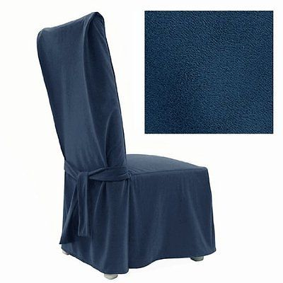 Best Ultra Suede Indigo Blue Dining Chair Cover 641 New Free 400 x 300