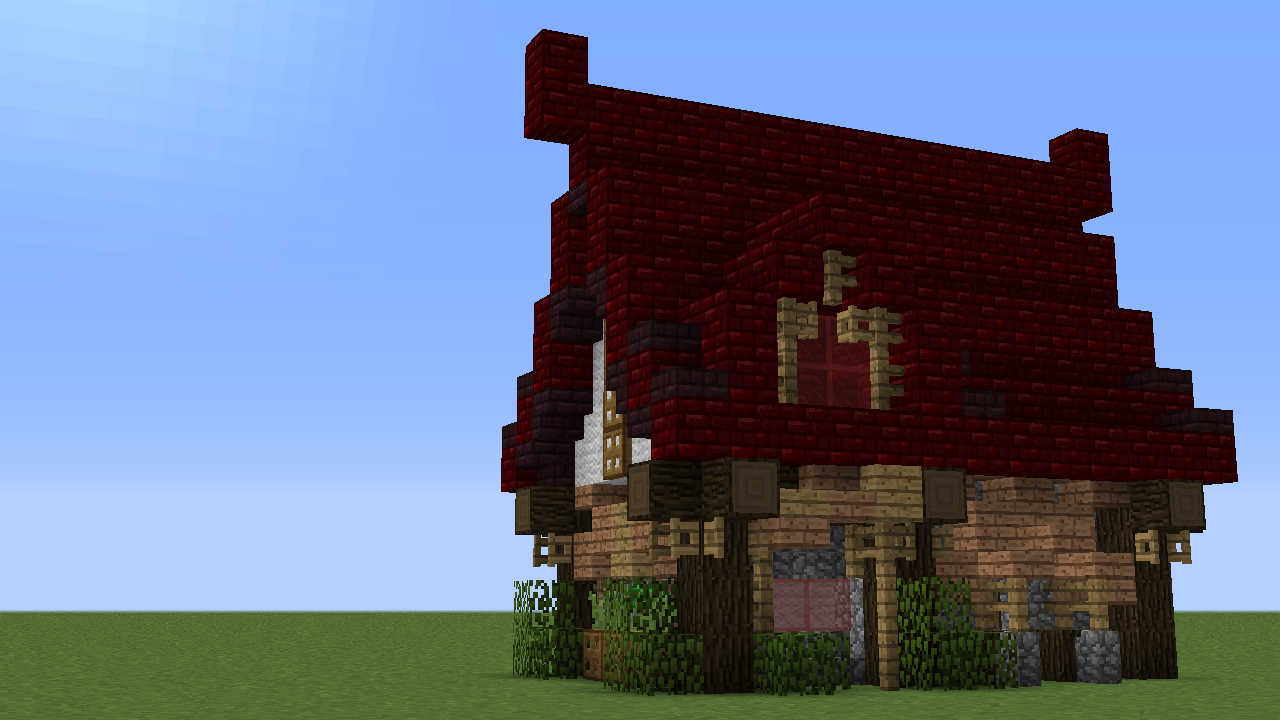Messing around with red nether brick in 1111.111111-pre1111. Good roof