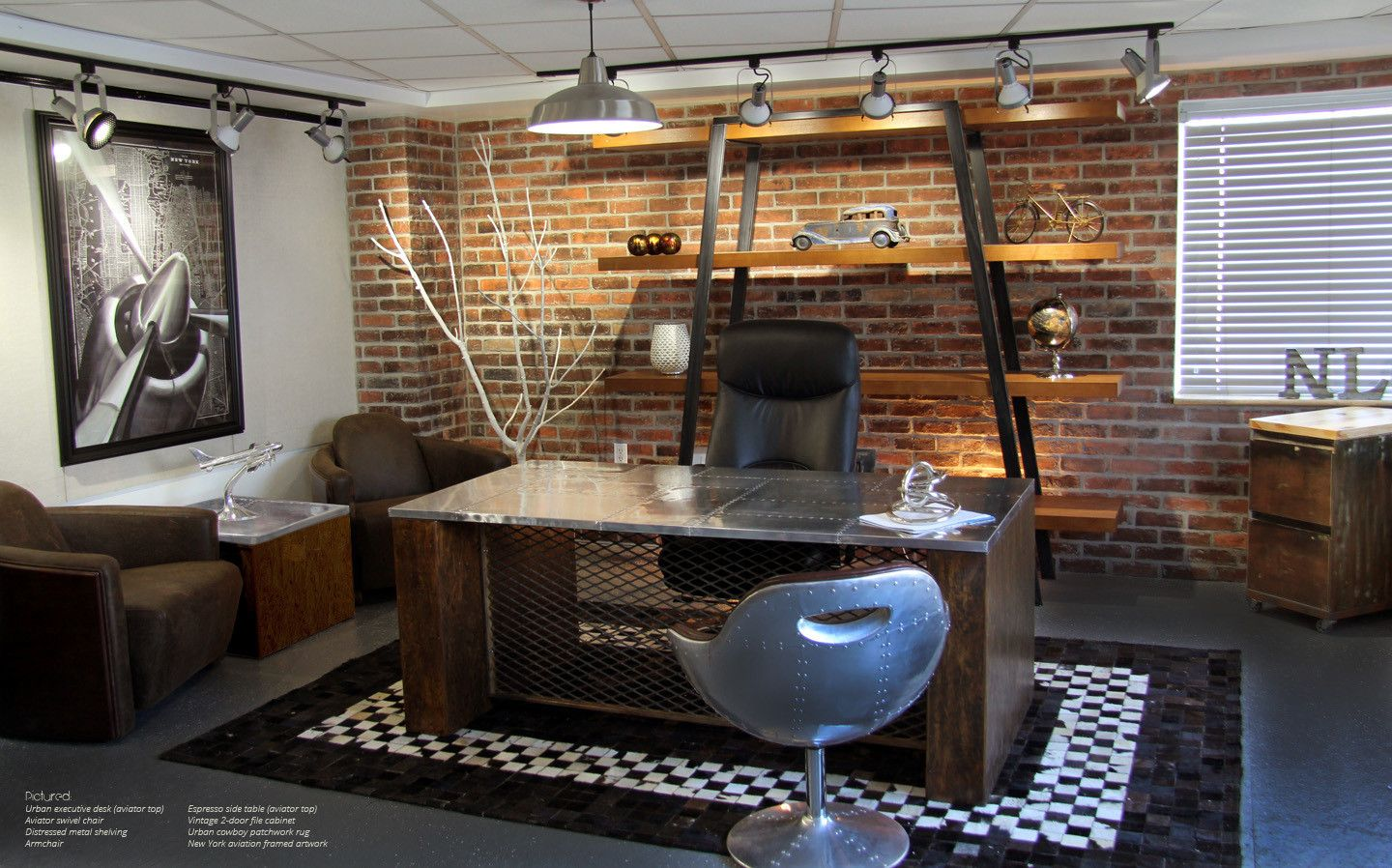 Urban Industrial Office Furniture Including Vintage Inspired Desks