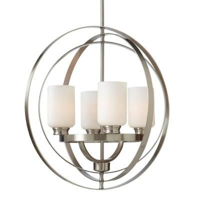 248 Living Room Home Decorators Collection 4 Light Brushed Nickel Chandelier 7900HDC