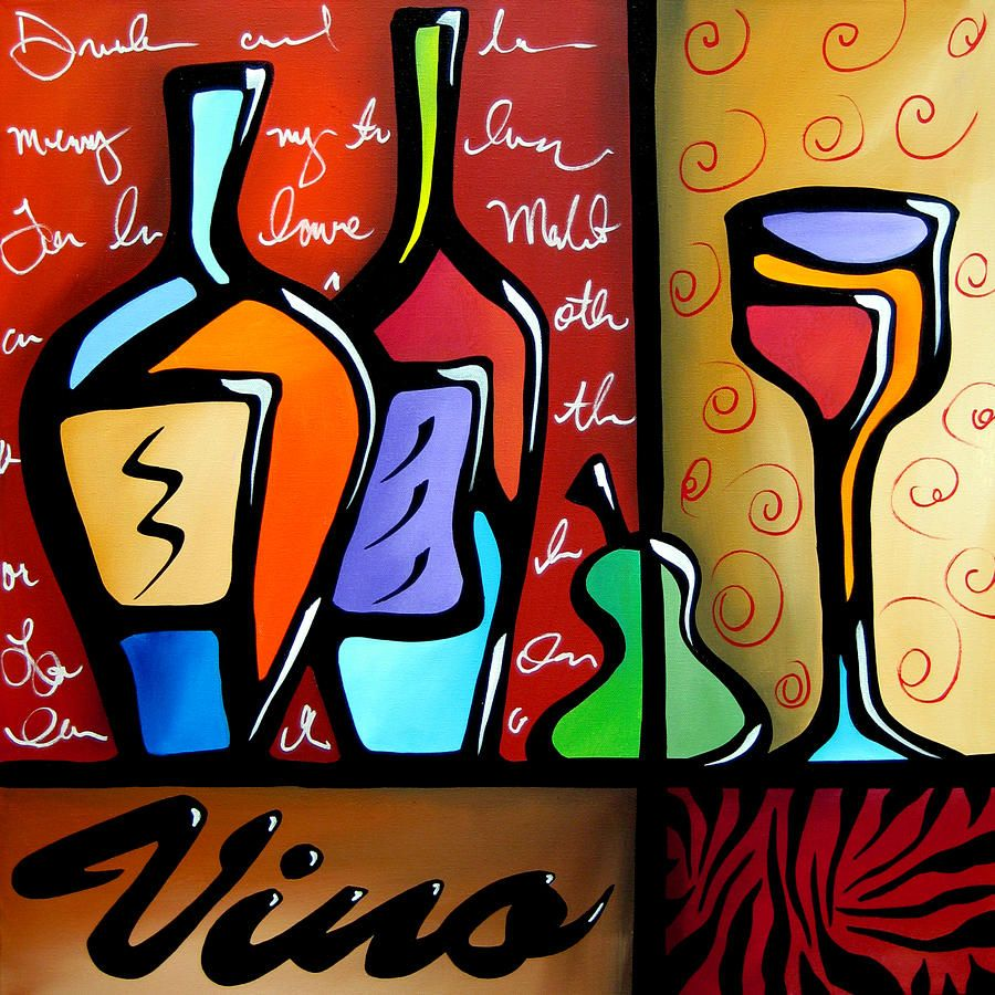 Vino By Tom Fedro Fidostudio Original Abstract Art Pop Art Collage Modern Abstract Painting