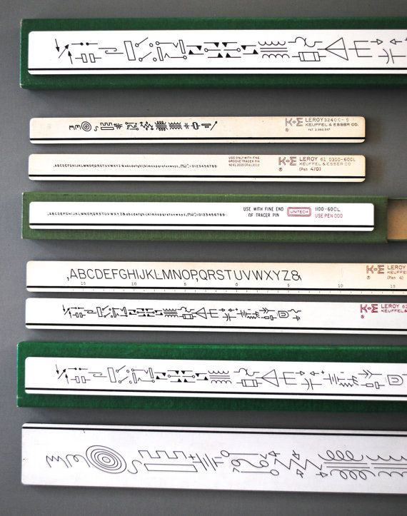 Drafting Templates Vintage Drawing Art Supplies Graphic Symbols For