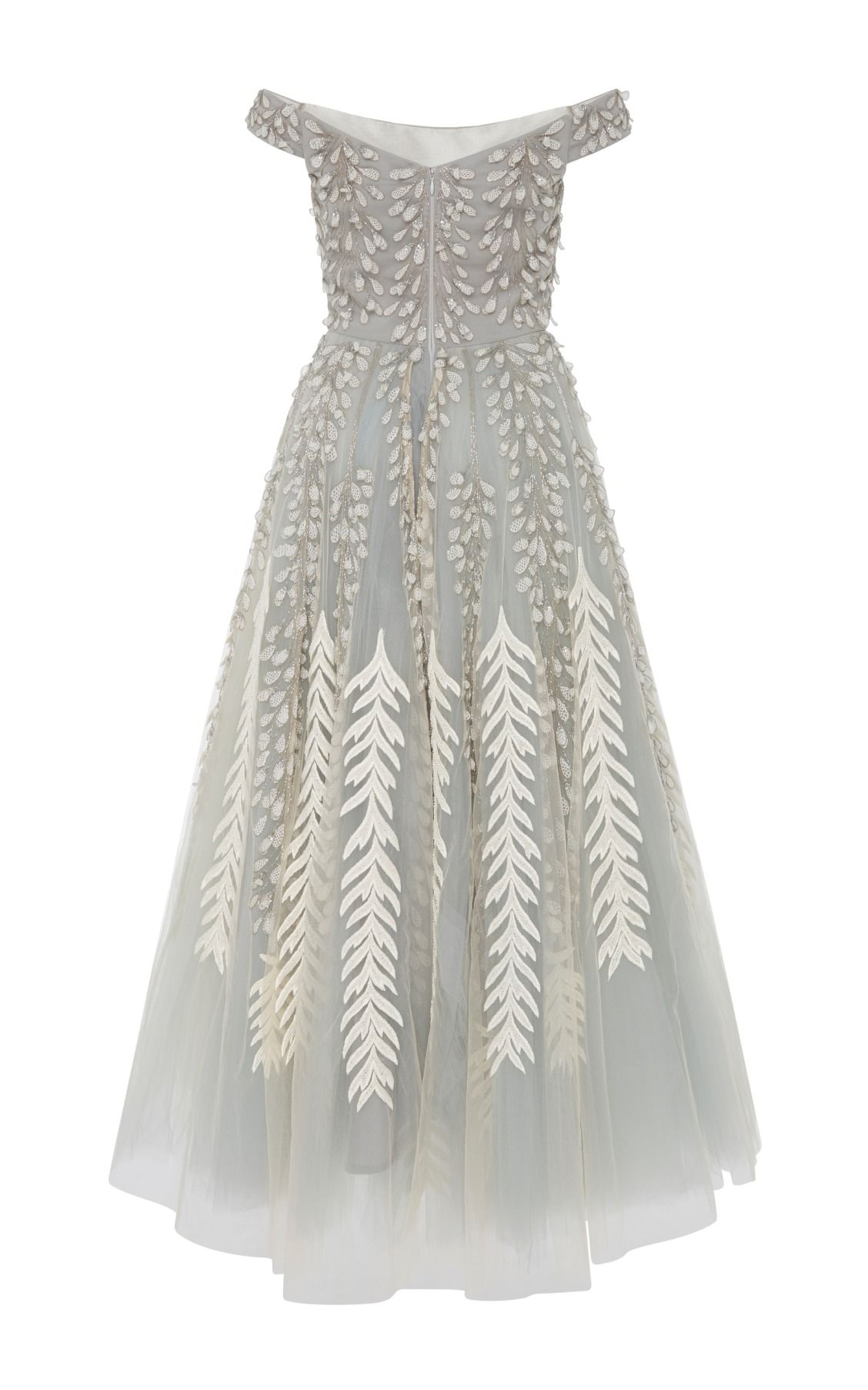 04538a5a5ce Tulle Embroidered Off The Shoulder Dress by Bibhu
