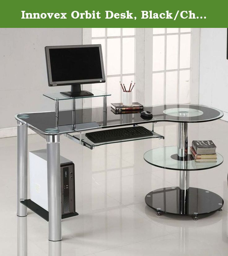 Innovex Orbit Desk Black Chrome Stylish Modern Personal Computer Desk Contemporary Home Office Furniture Modern Home Office Furniture Desks For Small Spaces