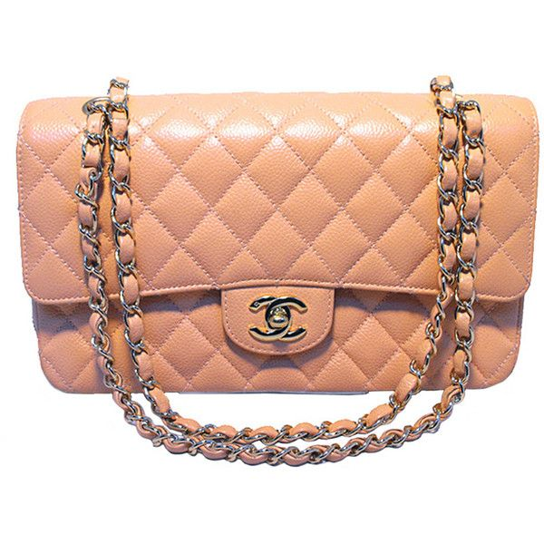 b169cd2e0b8812 Pre-owned Chanel Peach Caviar Quilted 10inch 2.55 Classic Double Flap...  ($4,700) ❤ liked on Polyvore