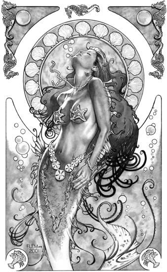 Mermaiden. Award Winning Art Nouveau of Artist Tom Fleming