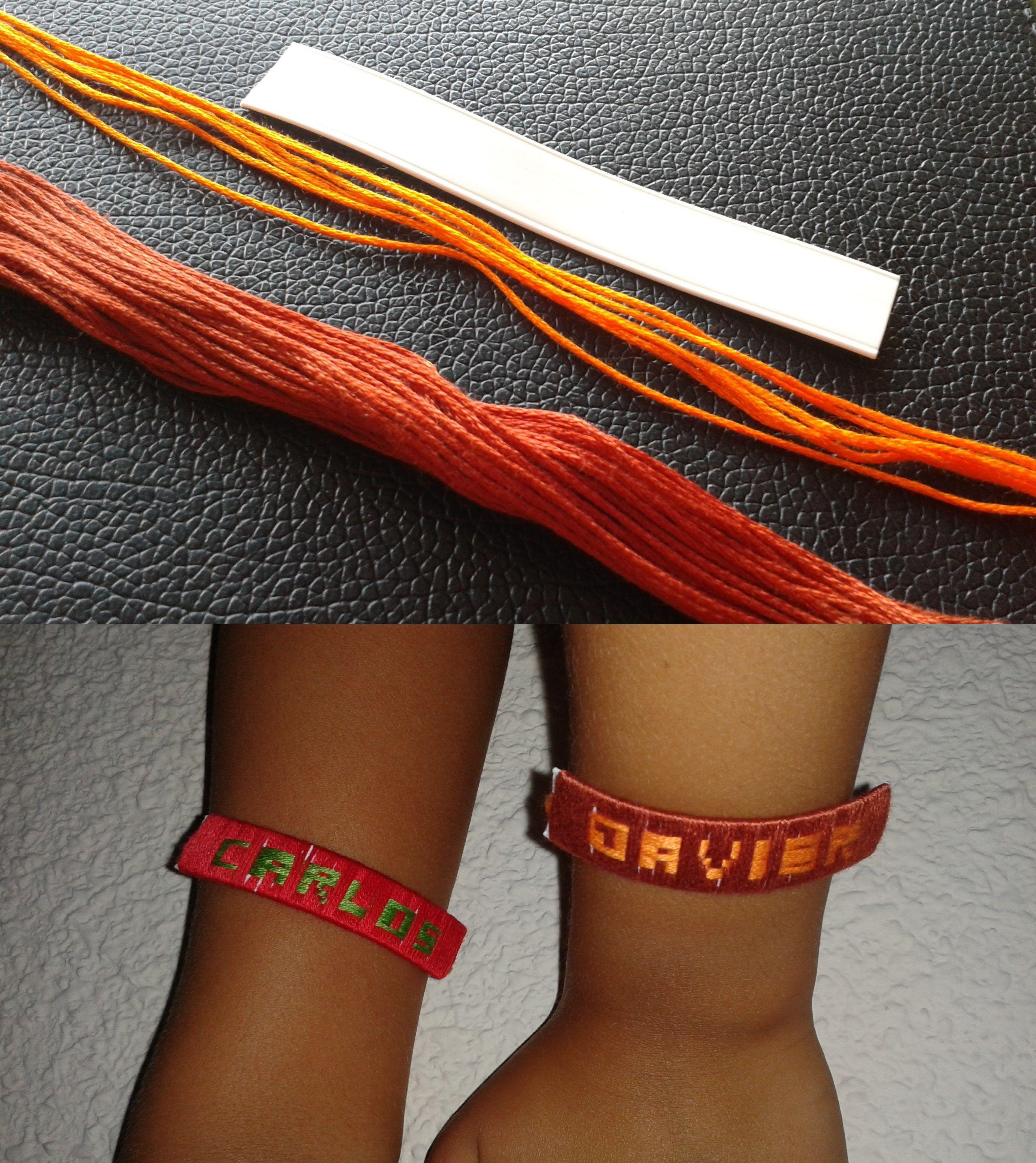 Pulseras de hilo con nombre: plástico de 10 cm de largo, 6 cordones de 30 cm para las letras, cordón de otro color para la base, plantilla de letras 6x6. Al comienzo 15 pasadas y entre cada letra 3 pasadas.