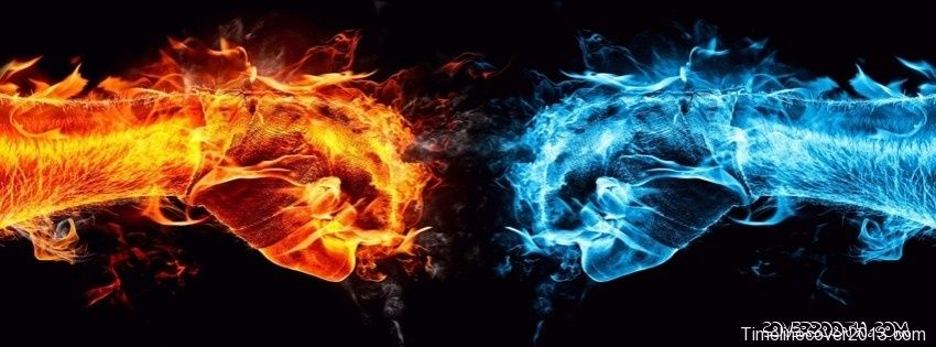 Blue And Red Flame Hand Cool Facebook Timeline Covers Cool