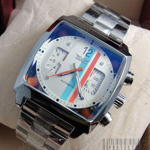 New JARAGAR White/Black face Square Classic designed Automechanical watch