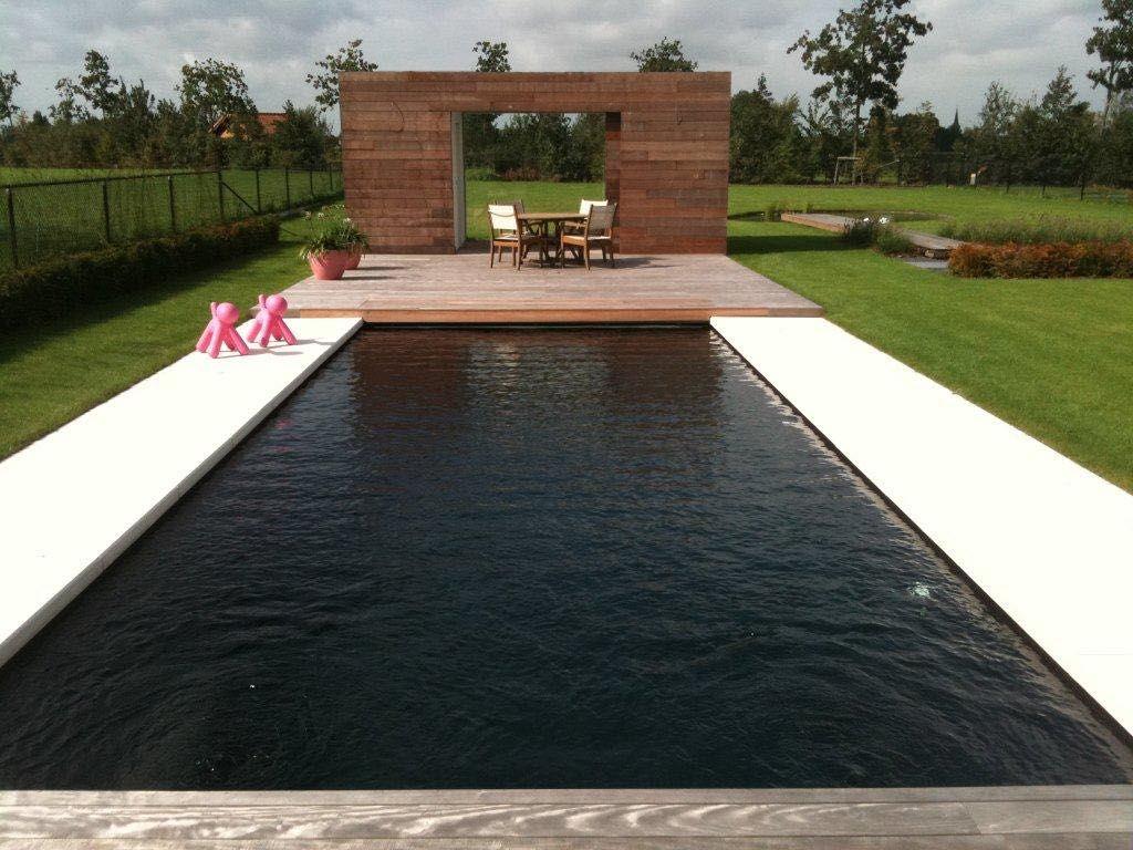 Modern strak design onyx zwart zwembad in regio aartselaar