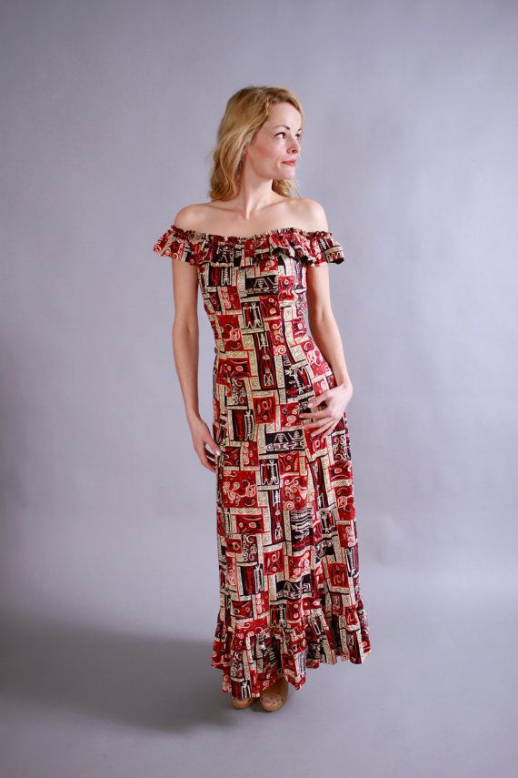 1940s Dress 40s 50s Hawaiian Malihini Off The Shoulder Maxi Tiki Vlv Print