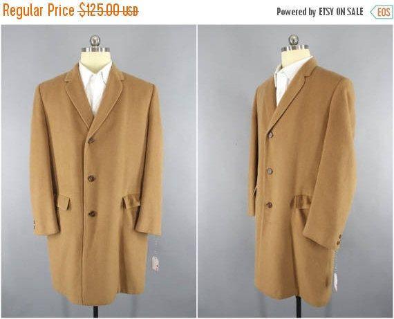 fa499ee4c2d Vintage 1960s   KHINGANA Cashmere Wool Trench Coat   60s Overcoat   Camel  Brown   Vintage Menswear   Mid Century Mad Men Coat  MensCoat  WinterCoat  ...