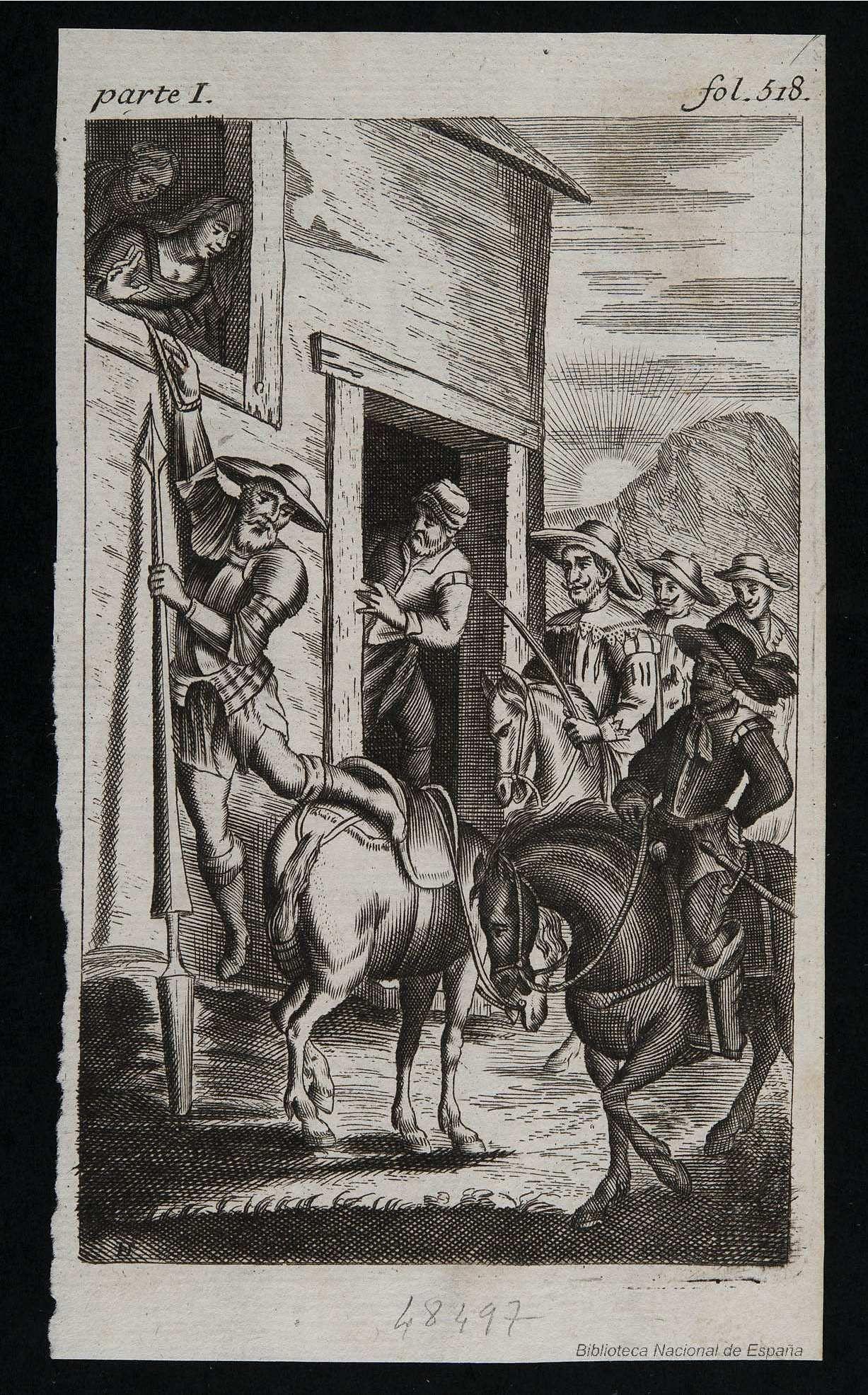 [La hija de la ventera y Maritornes atan a don Quijote a la ventana]. Diodati, François 1647-1690 — Grabado — 1682