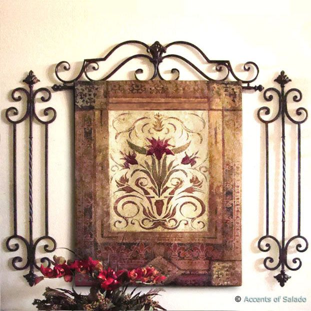 Tall Vertical Wall Grille Iron Wall Decor Tuscan Wall Decor Tuscan Decorating