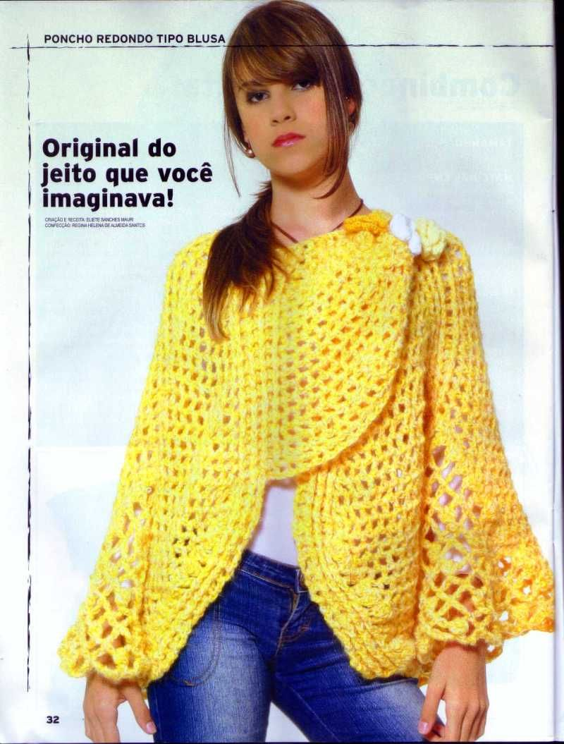 Edivana Croche: Poncho redondo tipo blusa | tejidos | Pinterest