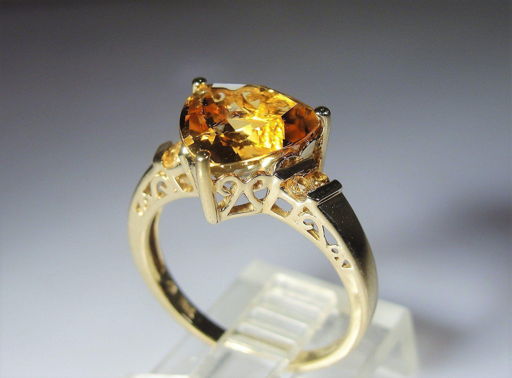 10k Trillion Cut Citrine Ring Golden Art Deco Style 3 Ct Vintage