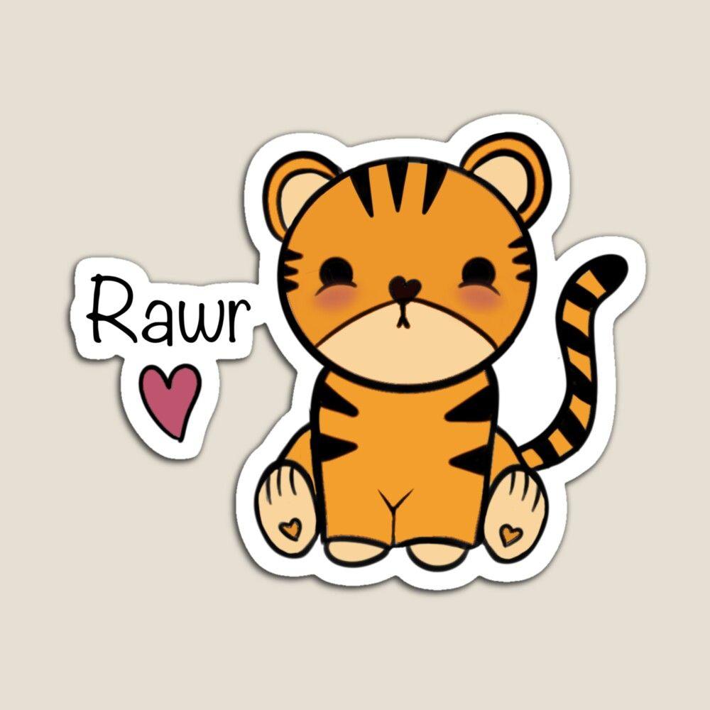 Kawaii Tiger Magnet By Dasjha Wallpaper Iphone Cute Kawaii Cute Tigers