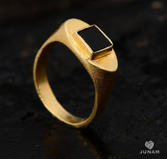 Black and Gold Ring 18k gold plated mens ring uni gold and