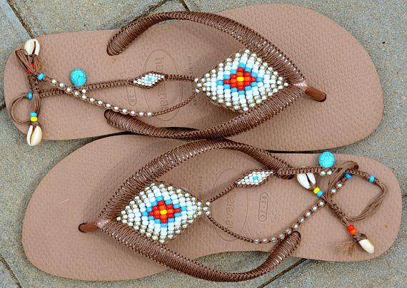f75a3abb53125 Bohemian Flip Flop, Sandals, Boho Sandals, Rose Gold Havaianas ...