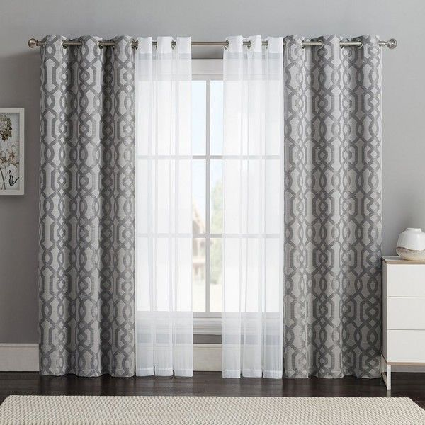 Vcny 4 pack barcelona double layer curtain set gray 32 for White curtains design ideas