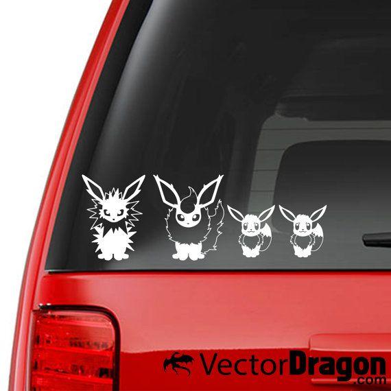 Eeveeloutions Family Car Vinyl Decal Set Eevee Evolutions Vaporeon Jolteon Flareon Umbreon Espeon Leafeon Glaceo Umbreon And Espeon Car Decals Vinyl Family Car