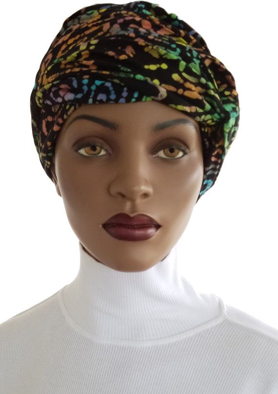African Inspired Head Wrap Hat Scarf Satin Lined Tie Dye Print ...