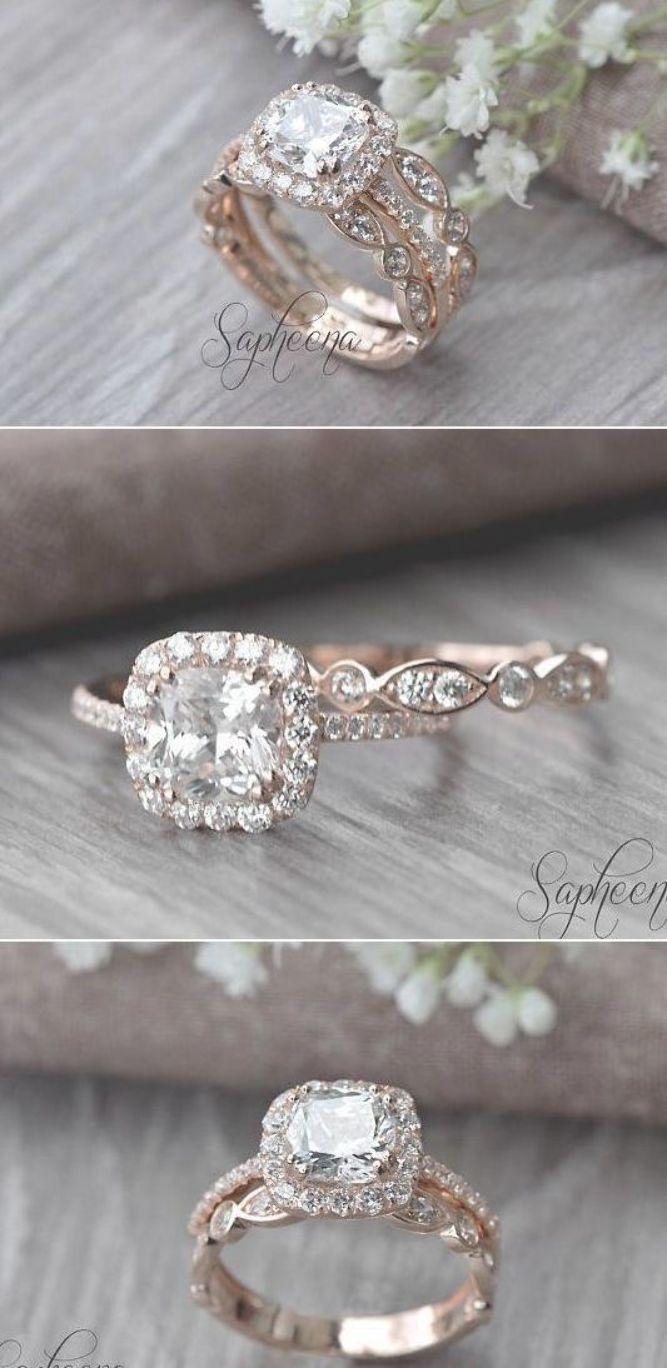 Set of 2, Brilliant Cushion Cut Engagement Ring with Art Deco band in 14k Rose Gold, Stacking, Bridal Set, Wedding Ring Band Set by Sapheena #weddingrings #cushionengagementring