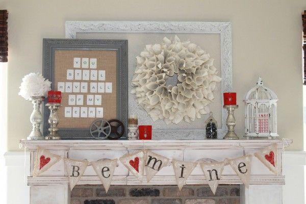 10 Ways To Decorate For Valentines Day Cherished Bliss Valentines Day Decor Rustic Valentines Mantle Valentines Diy