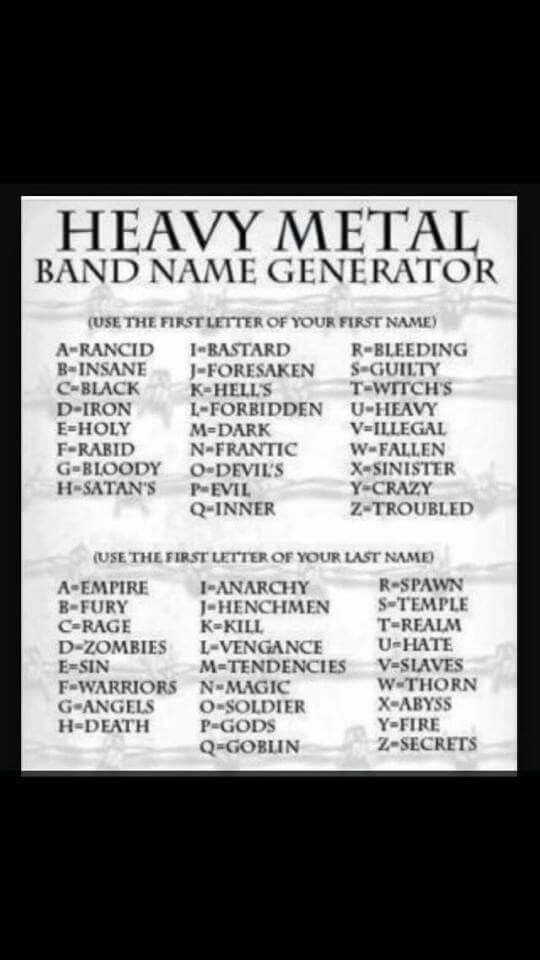 Holy anarchy | Band name generator, Heavy metal bands