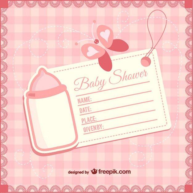 Plantilla de invitación de bebé niña Vector Gratis Iaremsi - plantillas para invitaciones gratis