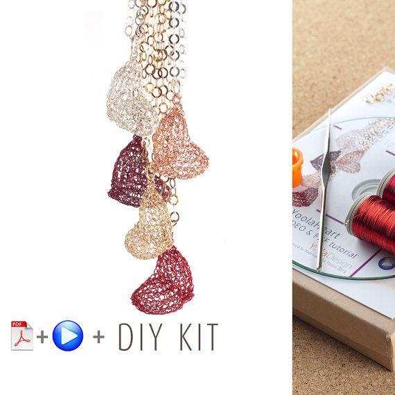 Heart Pattern DIY Kit - Crochet pendant - Jewelry Making KIT ...