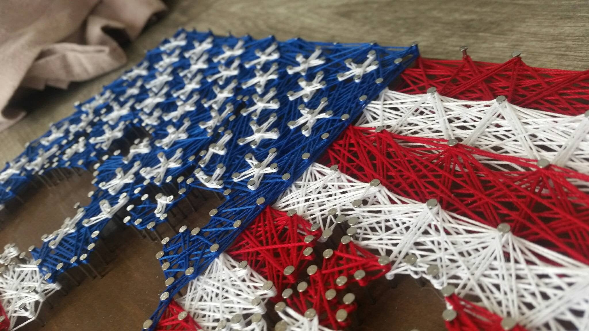 American Flag String Art with Soldier Silhouettes, American string art, flag string art, military string art #americanflagart