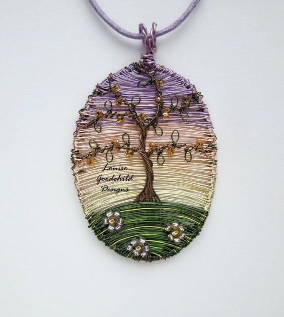 Tranquil Sunset wire tree pendant wire tree by LouiseGoodchild ...