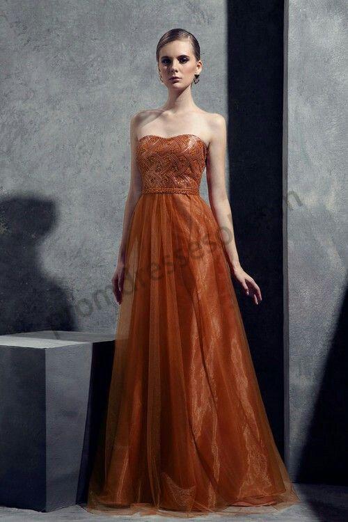 Beautiful burnt orange gown | BEAUTIFUL STUFF AND THINGS | Pinterest ...