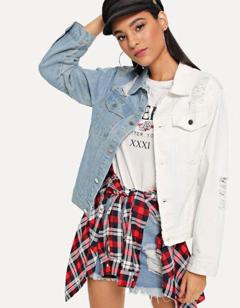 Clothing trendly store distressed denim denim jacket